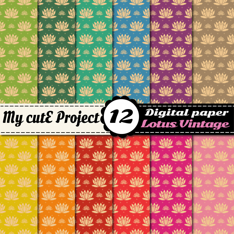 digital paper lotus flower creation graphique