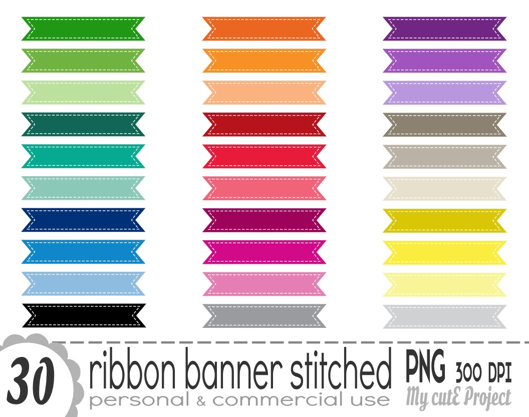 stitched ribbon banner clipart illustration avignon