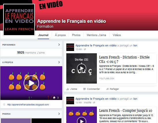 apprendre le francais en video Facebook
